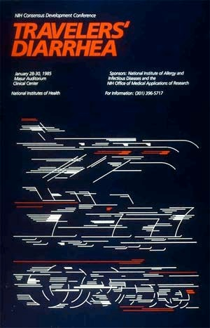Poster for a 1995 Consensus Development Conference about a medical problem widely suffered by travelers