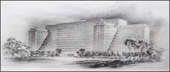 An artist's 1948 sketch of the NIH Clinical Center.