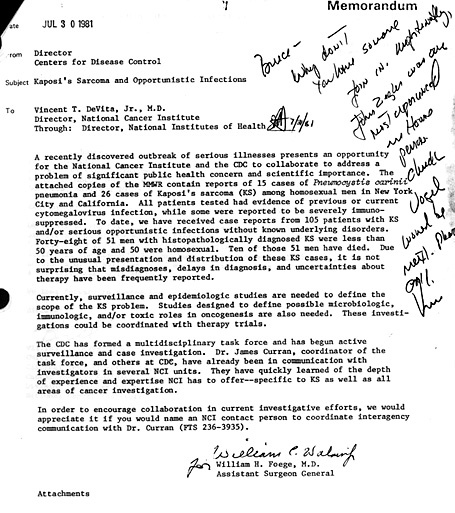 A 1981 memo from the CDC director requests the NCI to collaborate with the CDC on studies on Kaposi's sarcoma