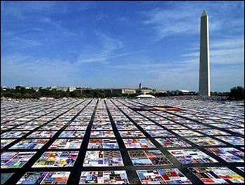 The NAMES Project AIDS quilt, representing people who have died of AIDS, in front of the Washington Monument