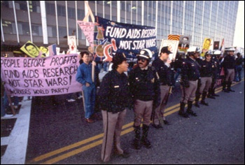 AIDS activists demonstrating