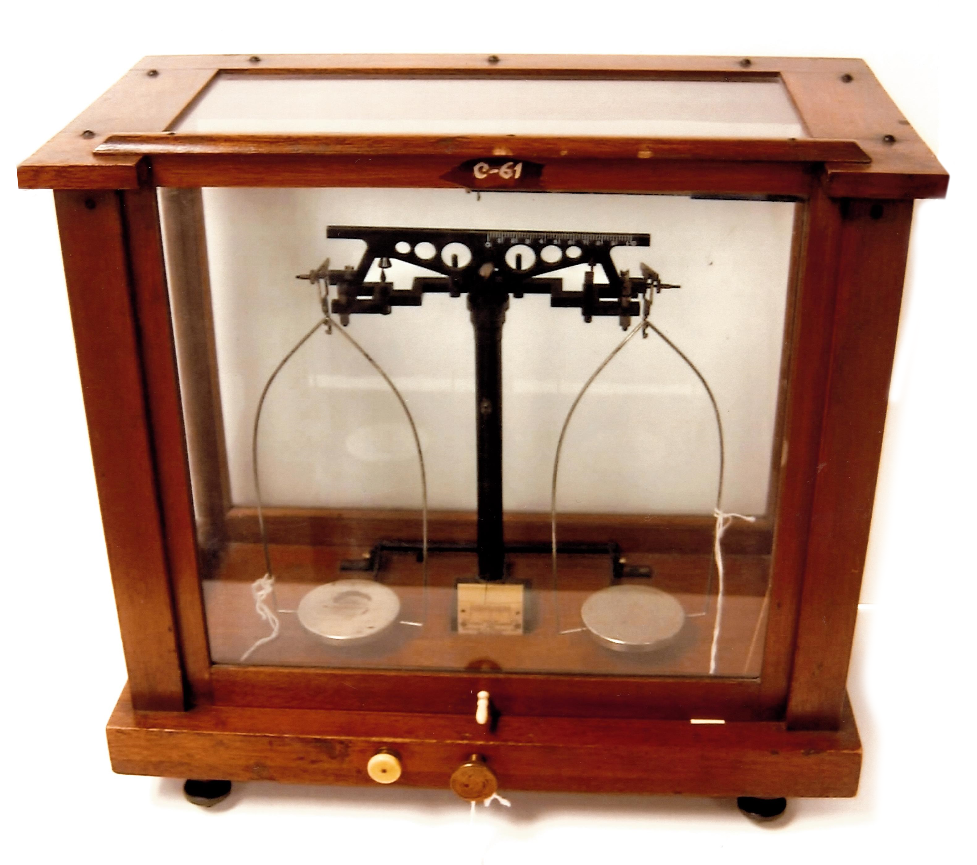 antique wooden analytical balance