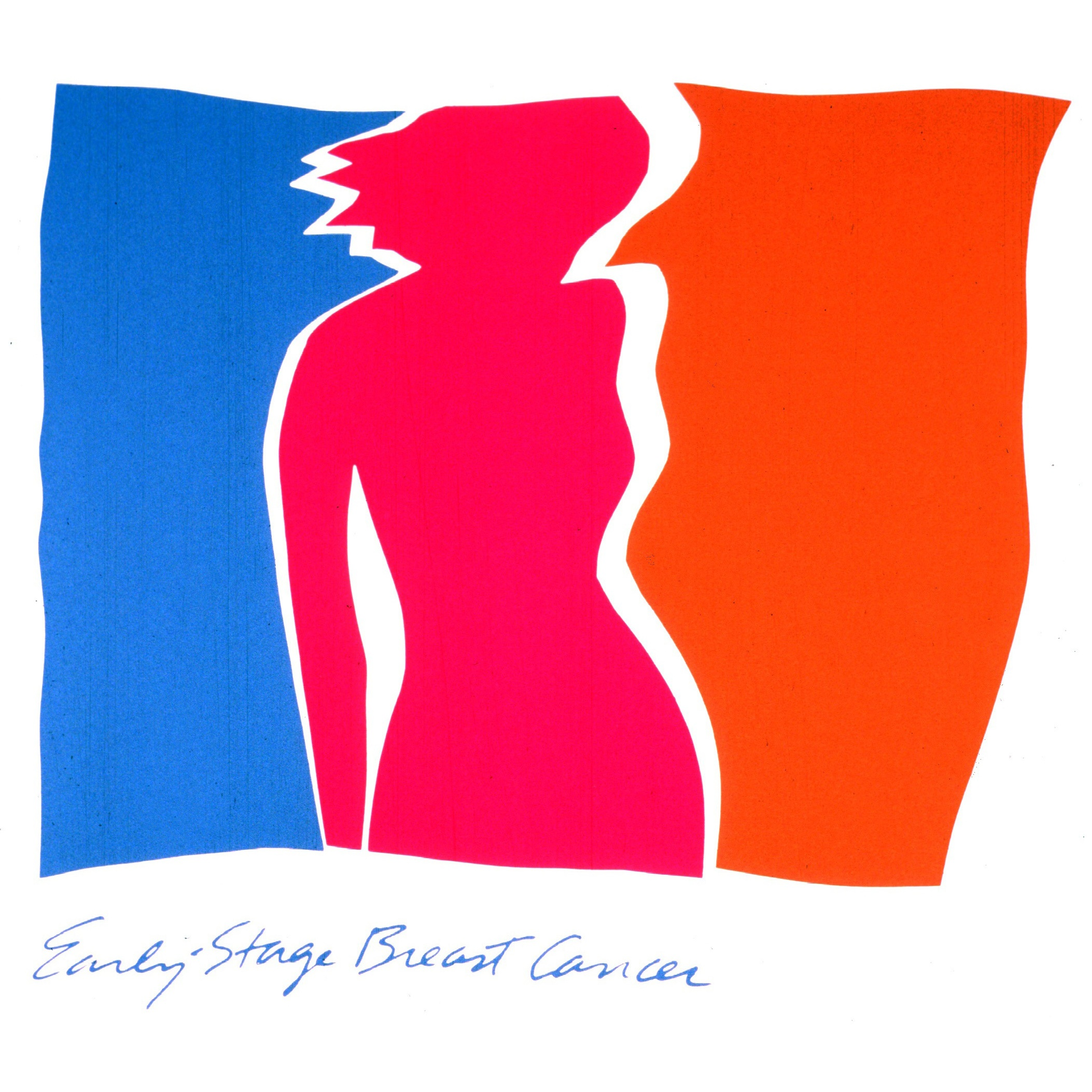 Poster featuring the silhouette of a woman and the title early stage breast cancer